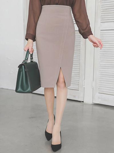 缝线 斜线 开叉 高 弹力 裙子(fall)