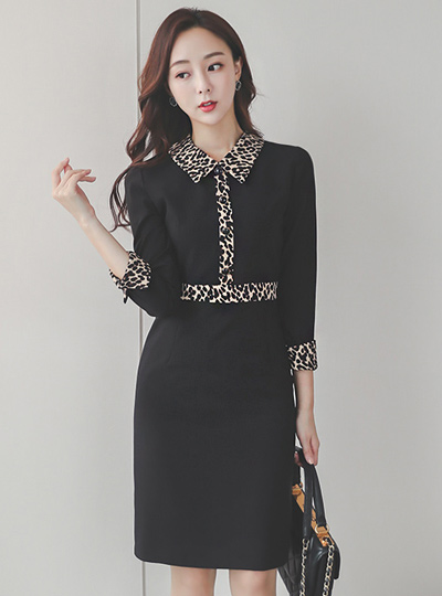 Leopard 配色 领子衬衫 连衣裙