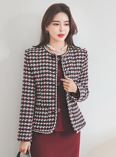 시그니처 颜色 编织 粗呢 夹克