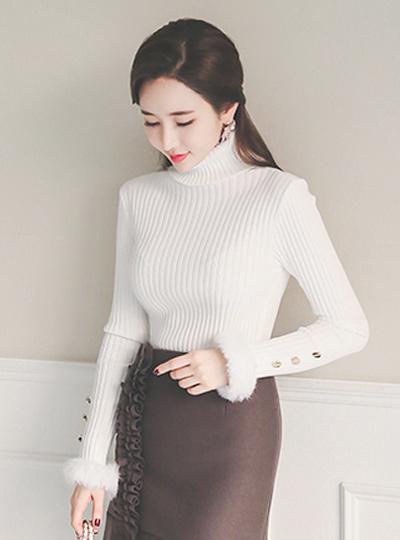 兔毛袖口波拉针织衫