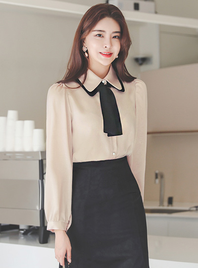 蝴蝶结领结 配色 绸缎 珍珠 罩衫