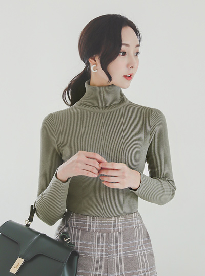 日常 高领 竖条纹针织T恤 Ⅱ