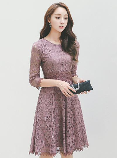 蕾丝蕾丝波浪群/喇叭裙连衣裙