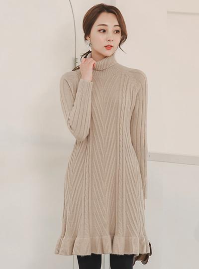 麻花畦编针织物高领羊毛针织连衣裙