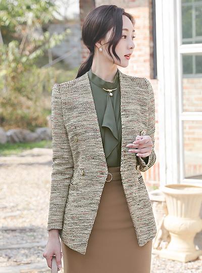 奢华裙 羊毛 粗呢 双排扣 无领 夹克