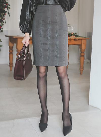 蛇皮纹 棉弹力 H字型 裙子