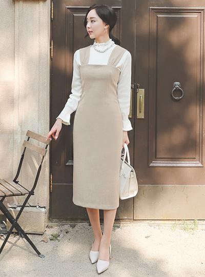 褶皱 背带 H字型 长款 连衣裙