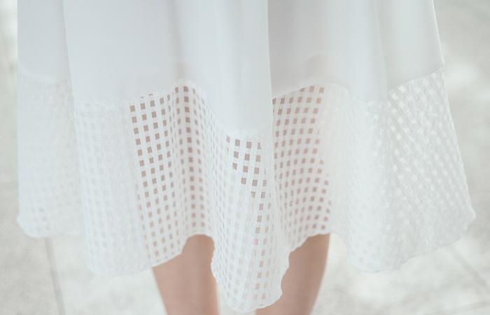 方形印花背部弯曲裙子