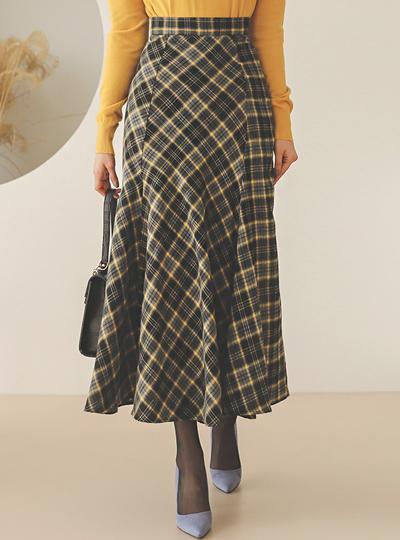 冬季 格子图案 拉绒 荷叶 长裙