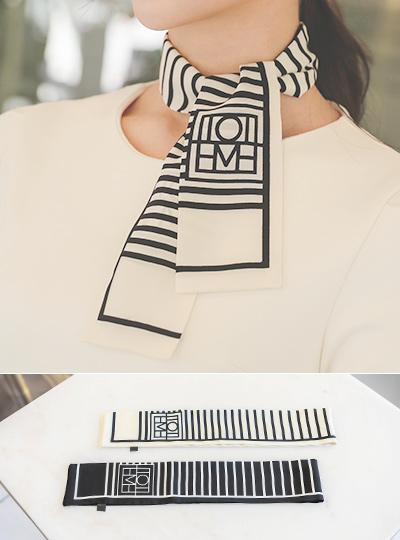 配色 横条纹迷你丝巾