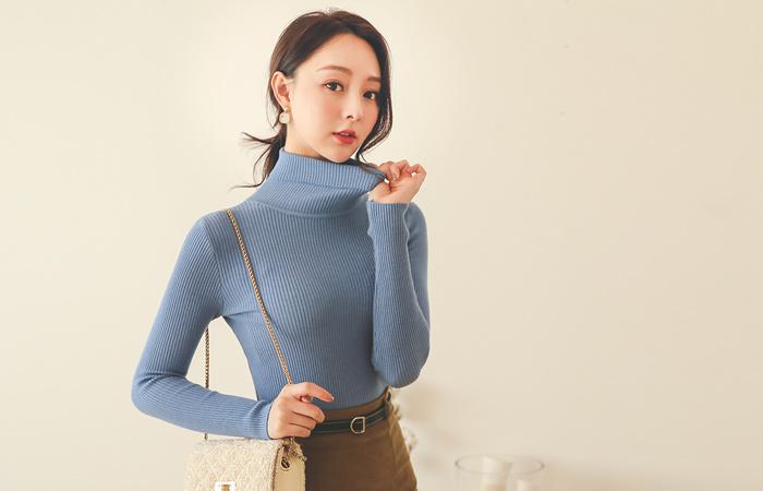 柔丝 日常 修身 条绒 针织衫