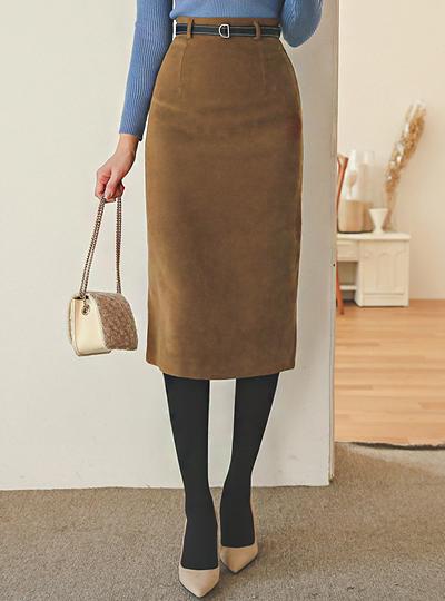 翻毛皮 触摸 缝线 腰带 中长款裙