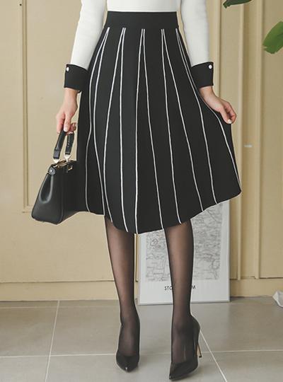 条纹管道针织衫波浪群/喇叭裙裙子