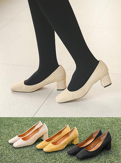 灯芯绒 中跟 浅口式高跟鞋