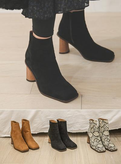 独特 木纹底高跟 方形 脚踝 靴子