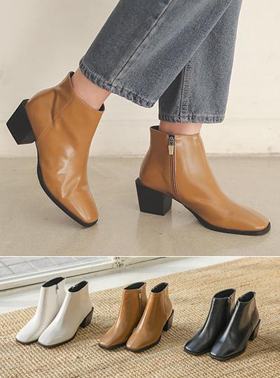 方形 线条 Black 木跟 短靴