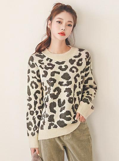 柔丝 Leopard 圆领 针织衫