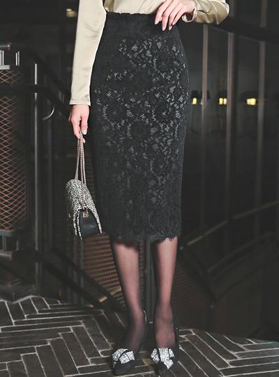 金发 코드 蕾丝 中长 裙子