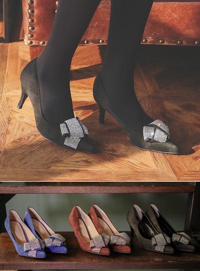 蝴蝶结 翻毛皮 高跟鞋