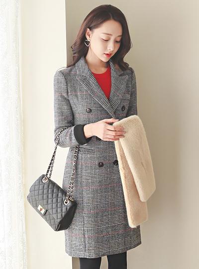 古典 格子 双排扣 卷边 配色 羊毛 大衣