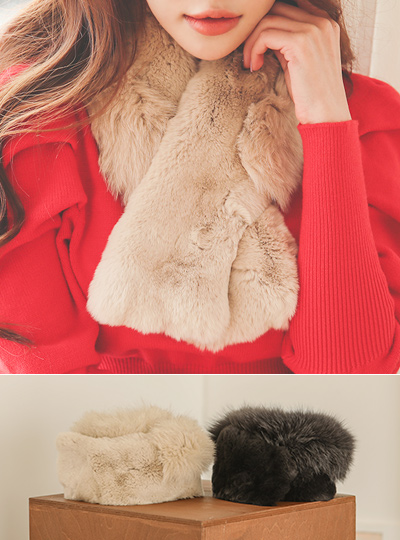 狐狸&獭兔皮 磁石 围巾