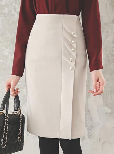 侧纽 褶皱 褶裥 珍珠 弹力 裙子