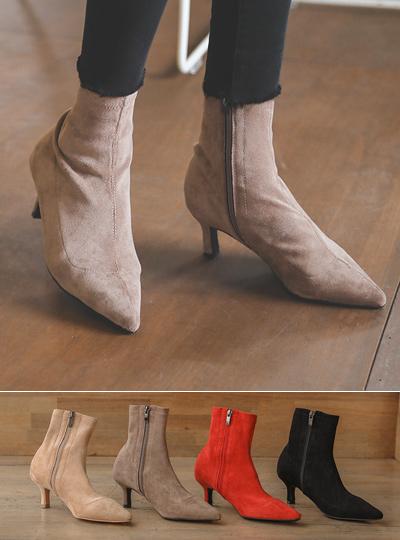 翻毛皮 线条 尖头 脚踝 高跟靴子