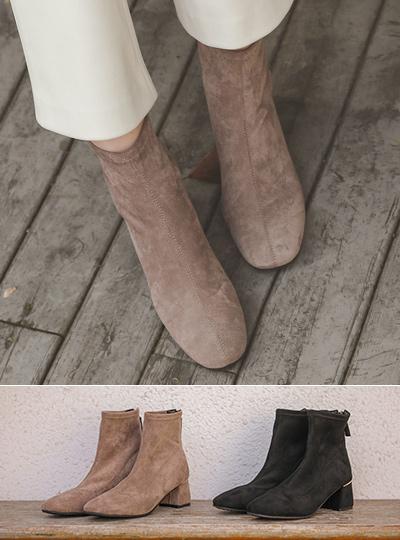 金条装饰 弹力 中跟 脚踝 靴子