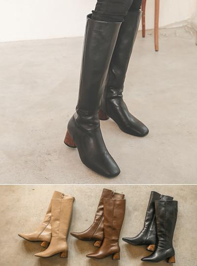 方形线条 毛皮里料 人造皮夹 长款 靴子
