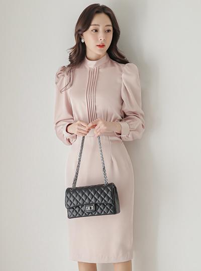 绸缎 褶边 腰头线条 修身 H字型 连衣裙